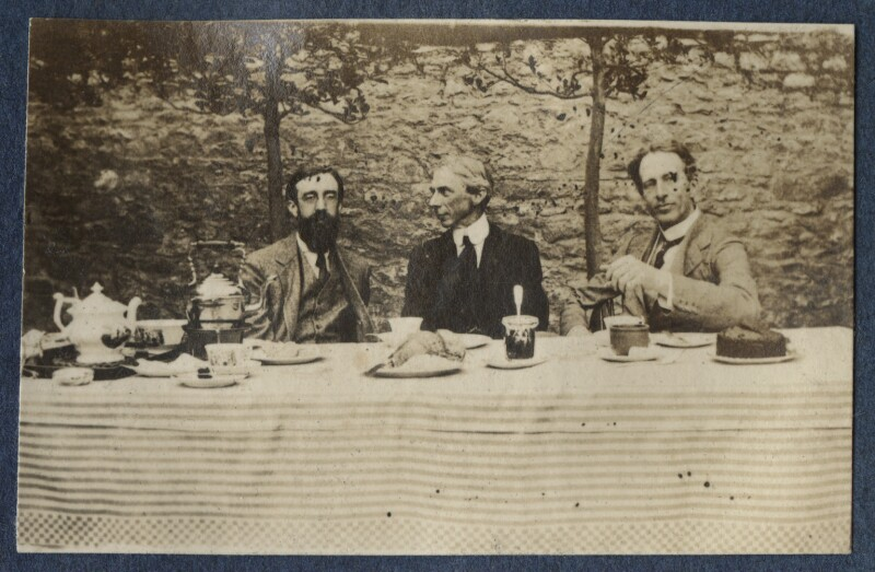 Lytton Strachey; Bertrand Arthur William Russell, 3rd Earl Russell; Philip Edward Morrell, by Lady Ottoline Morrell, 1917 - NPG Ax140632 - © National Portrait Gallery, London