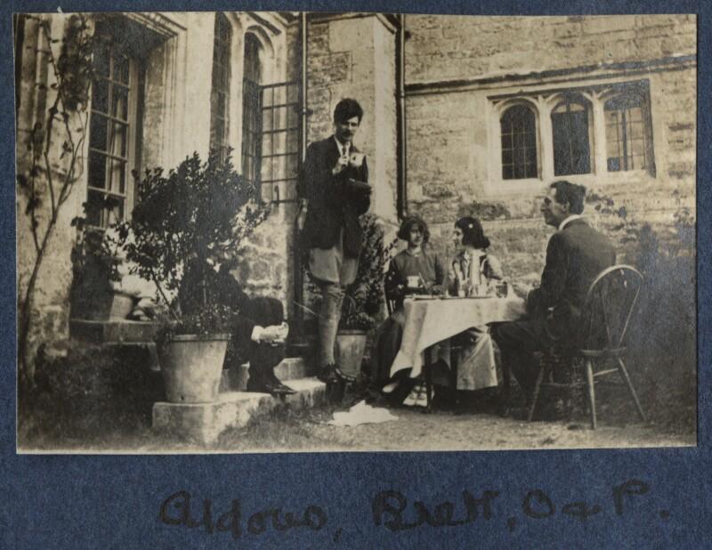 Aldous Huxley; Dorothy Brett; Lady Ottoline Morrell; Philip Edward Morrell, by Unknown photographer, 1917 - NPG Ax140631 - © National Portrait Gallery, London