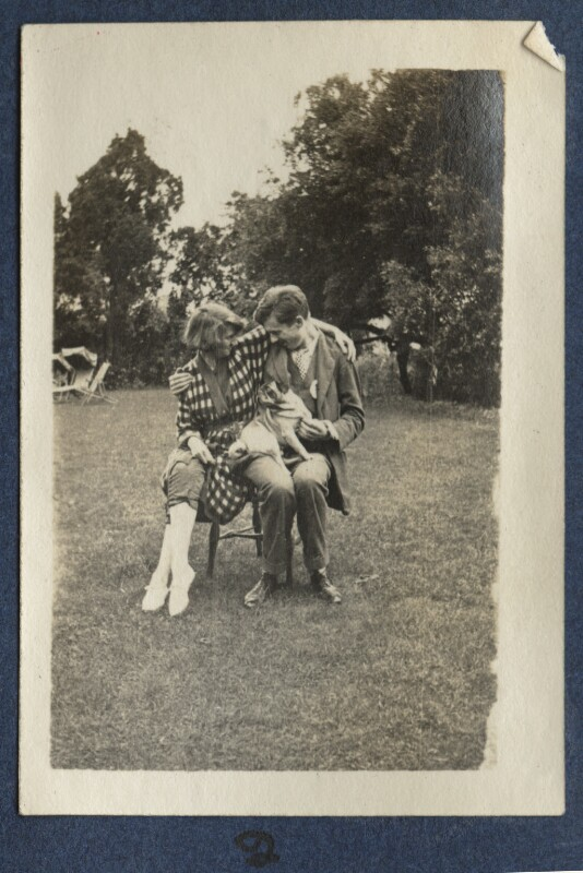 Dorothy Brett; Aldous Huxley with Lady Ottoline Morrell's pug Soie, by Lady Ottoline Morrell, 1917 - NPG Ax140686 - © National Portrait Gallery, London