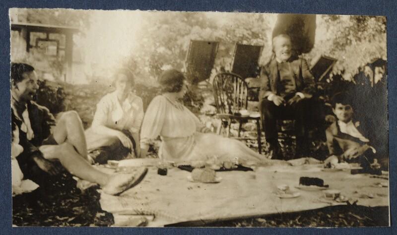 Geoffrey Nelson; Dorothy Brett; Lady Ottoline Morrell; Mr Blay; Mark Gertler, by Unknown photographer, 1919 - NPG Ax140699 - © National Portrait Gallery, London