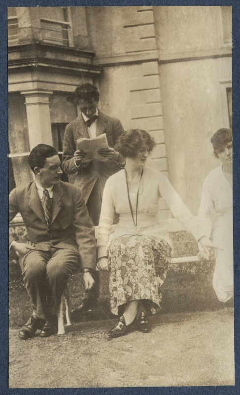 Sir Osmond Thomas Esmonde, 12th Bt; Evan Morgan, 2nd Viscount Tredegar; Lois Ina (née Sturt), Viscountess Tredegar, by Lady Ottoline Morrell, 1919 - NPG Ax140726 - © National Portrait Gallery, London