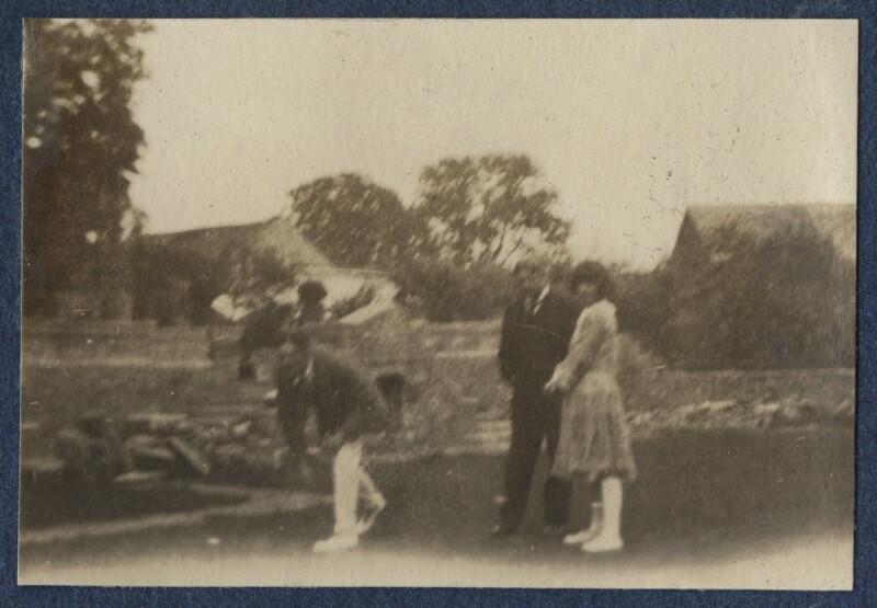 T.S. Eliot; Sir John Tresidder Sheppard; Julian Vinogradoff (née Morrell), by Lady Ottoline Morrell, 1920 - NPG Ax140844 - © National Portrait Gallery, London