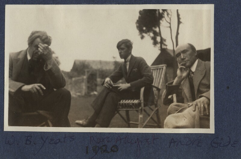 W.B. Yeats; Marc Allégret; André Gide, by Lady Ottoline Morrell, August 1920 - NPG Ax140875 - © National Portrait Gallery, London