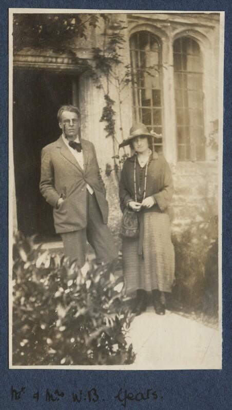 W.B. Yeats; Bertha Georgie Yeats (née Hyde-Lees), by Lady Ottoline Morrell, September 1920 - NPG Ax140876 - © National Portrait Gallery, London
