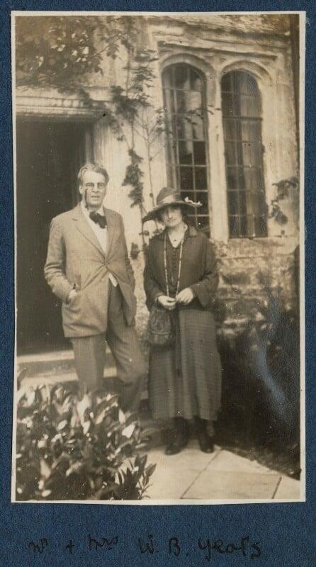 W.B. Yeats; Bertha Georgie Yeats (née Hyde-Lees), by Lady Ottoline Morrell, September 1920 - NPG Ax140879 - © National Portrait Gallery, London