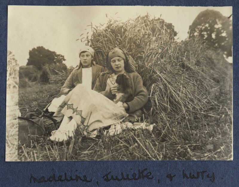Madeline Clinkard; Juliette (née Baillot), Lady Huxley with Lady Ottoline Morrell's dog Nutty, by Lady Ottoline Morrell, 1917 - NPG Ax140535 - © National Portrait Gallery, London