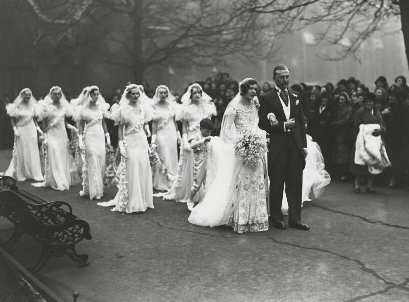 The wedding of Nancy Beaton and Sir Hugh Houston Smiley, 3rd Bt, by James Jarché, for  Daily Herald, 18 January 1933 - NPG x36481 - © Mirrorpix