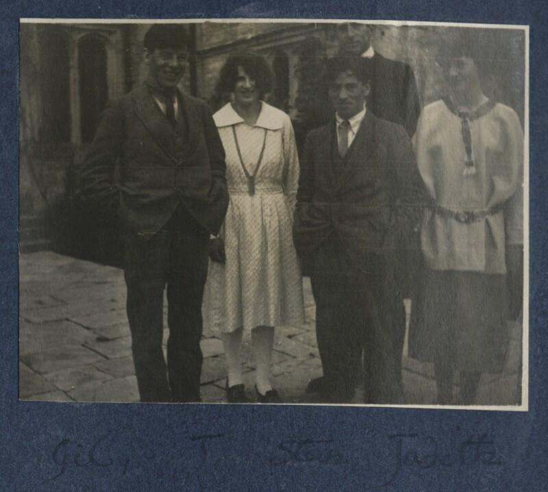 Gilbert Spencer; Julian Vinogradoff (née Morrell); Sir Stanley Spencer; Judith Masefield, by Lady Ottoline Morrell, 1920 - NPG Ax141198 - © National Portrait Gallery, London
