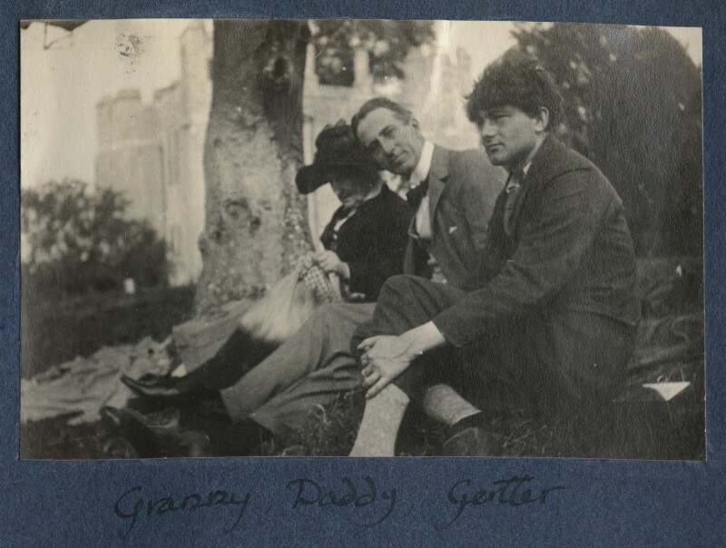 Harriette Morrell (née Wynter); Philip Edward Morrell; Mark Gertler, by Lady Ottoline Morrell, 1921 - NPG Ax141217 - © National Portrait Gallery, London