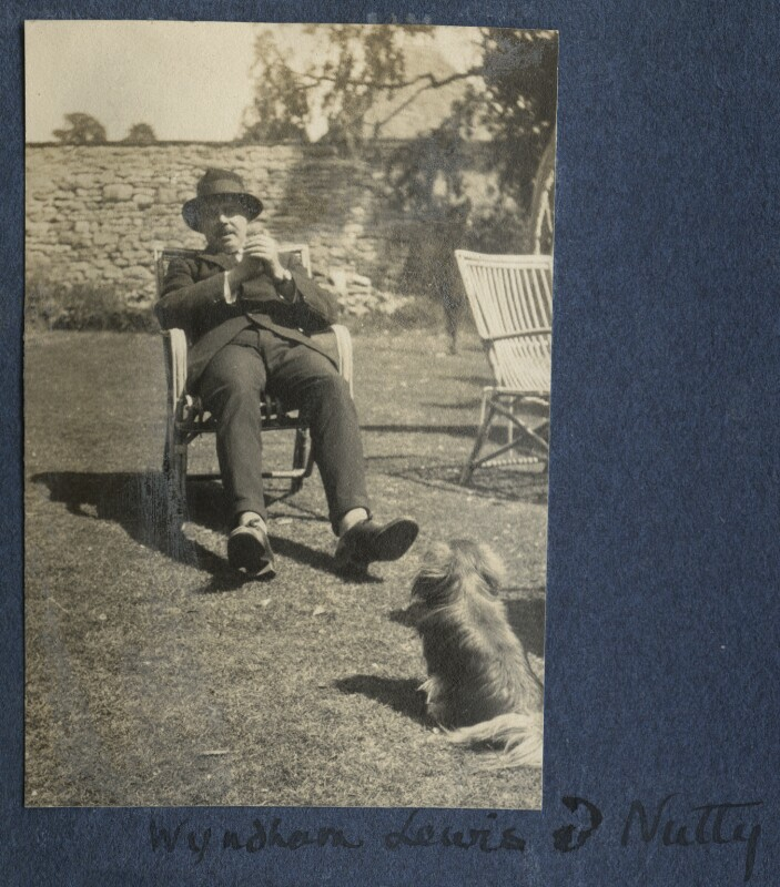 Wyndham Lewis with Lady Ottoline's dog 'Nutty', by Lady Ottoline Morrell, 1922 - NPG Ax141270 - © National Portrait Gallery, London