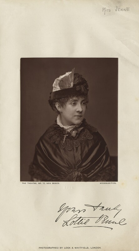 Lottie Venne, by Lock & Whitfield, published 1 October 1879 - NPG x27120 - © National Portrait Gallery, London