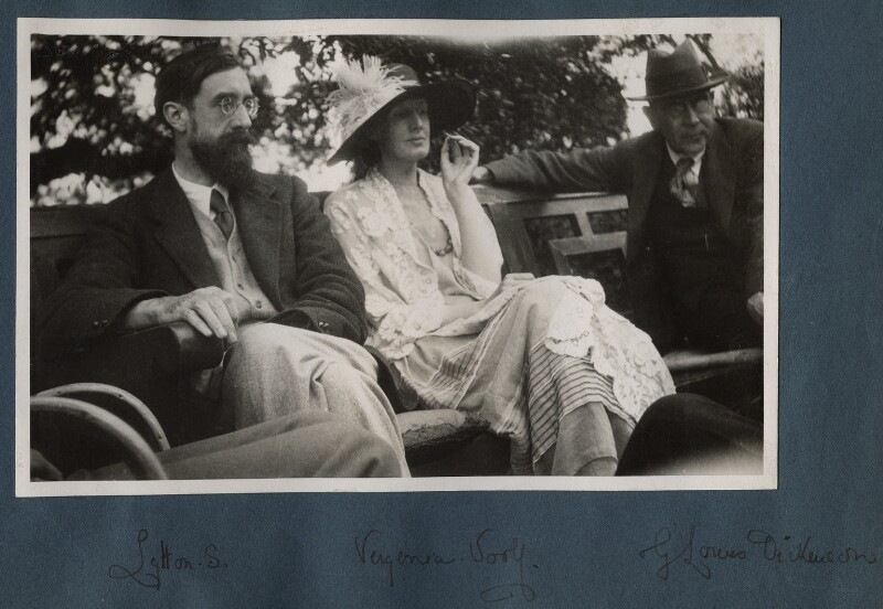 Lytton Strachey; Virginia Woolf; Goldsworthy Lowes Dickinson, by Lady Ottoline Morrell, June 1923 - NPG Ax141313a - © National Portrait Gallery, London