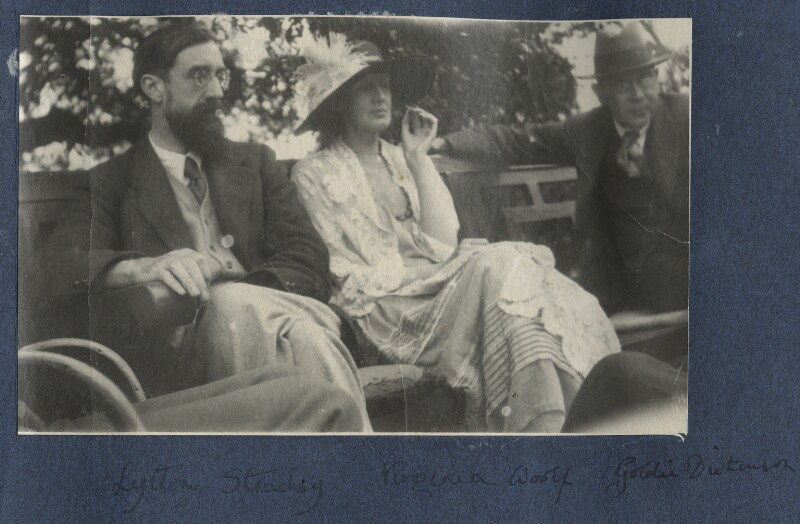 Lytton Strachey; Virginia Woolf; Goldsworthy Lowes Dickinson, by Lady Ottoline Morrell, June 1923 - NPG Ax141313 - © National Portrait Gallery, London