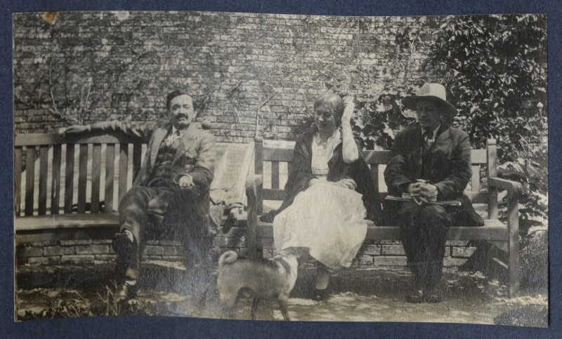 Simon Bussy; Vanessa Bell; Duncan Grant with Lady Ottoline Morrell's pug Soie, by Lady Ottoline Morrell, 1922 - NPG Ax141317 - © National Portrait Gallery, London