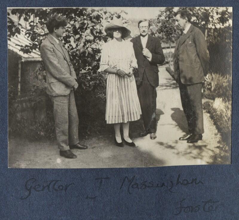 Mark Gertler; Julian Vinogradoff (née Morrell); Henry William Massingham; E.M. Forster, by Lady Ottoline Morrell, 1922 - NPG Ax141325 - © National Portrait Gallery, London