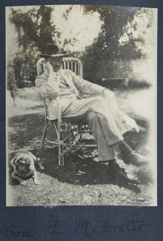 E.M. Forster with Lady Ottoline Morell's pug Soie, by Lady Ottoline Morrell, 1922 - NPG Ax141328 - © National Portrait Gallery, London