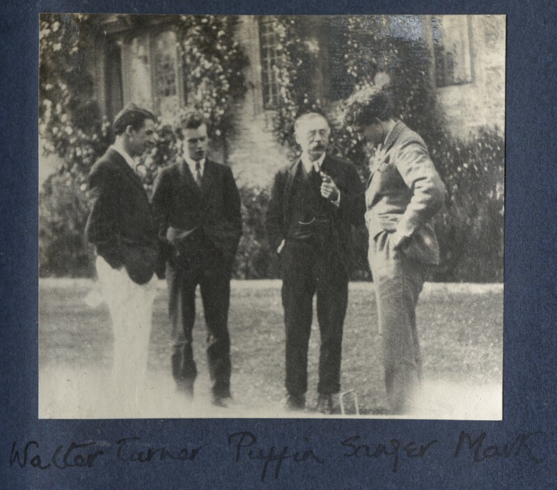 Walter James Redfern Turner; Anthony Asquith; Charles Percy Sanger; Mark Gertler, by Lady Ottoline Morrell, 1922 - NPG Ax141341 - © National Portrait Gallery, London