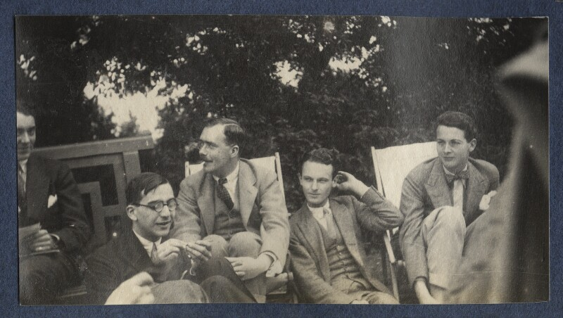Jean de Menasce; L.P. Hartley; Sylvester Govett Gates; Hon. Robert Gathorne-Hardy and an unknown man, by Lady Ottoline Morrell, 1923 - NPG Ax141395 - © National Portrait Gallery, London