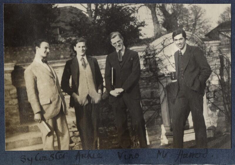 Sylvester Govett Gates; Archibald Lucas; Igor Vinogradoff; Sir Roy Harrod, by Lady Ottoline Morrell, March 1924 - NPG Ax141493 - © National Portrait Gallery, London