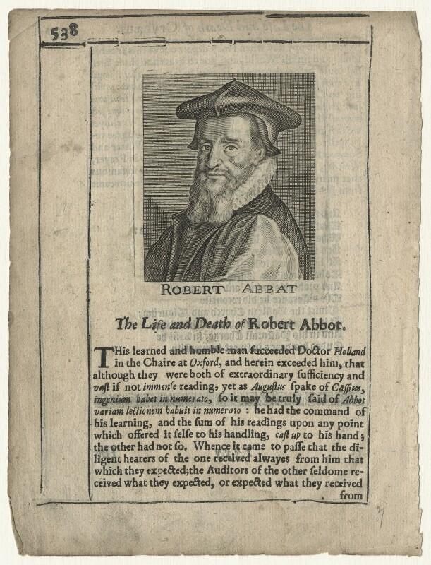 Robert Abbot, after Magdalena de Passe, after  Willem de Passe, published 1651 - NPG D20859 - © National Portrait Gallery, London