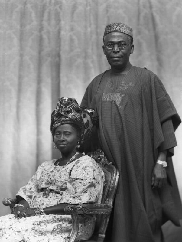 Hannah Idowu Dideolu Awolowo (née Adelana); Obafemi Awolowo, by Bassano Ltd, 21 July 1972 - NPG x171534 - © National Portrait Gallery, London
