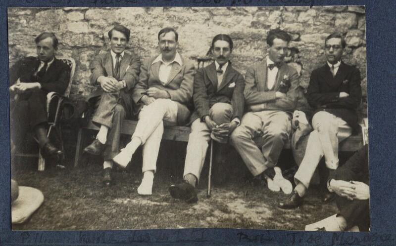John Pilley; Kyrle Leng; L.P. Hartley; Peter Ralli; Hon. Robert Gathorne-Hardy; Jean de Menasce, by Lady Ottoline Morrell, 1924 - NPG Ax141552 - © National Portrait Gallery, London