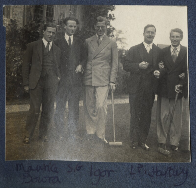 Sir Maurice Bowra; Sylvester Govett Gates; Igor Vinogradoff; L.P. Hartley; Kyrle Leng, by Lady Ottoline Morrell, 1924 - NPG Ax141557 - © National Portrait Gallery, London