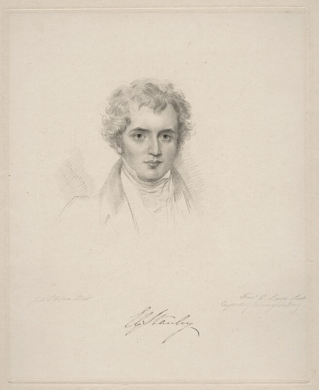 Edward Stanley, 14th Earl of Derby, by Frederick Christian Lewis Sr, after  Joseph Slater, 1826 or after - NPG D20625 - © National Portrait Gallery, London