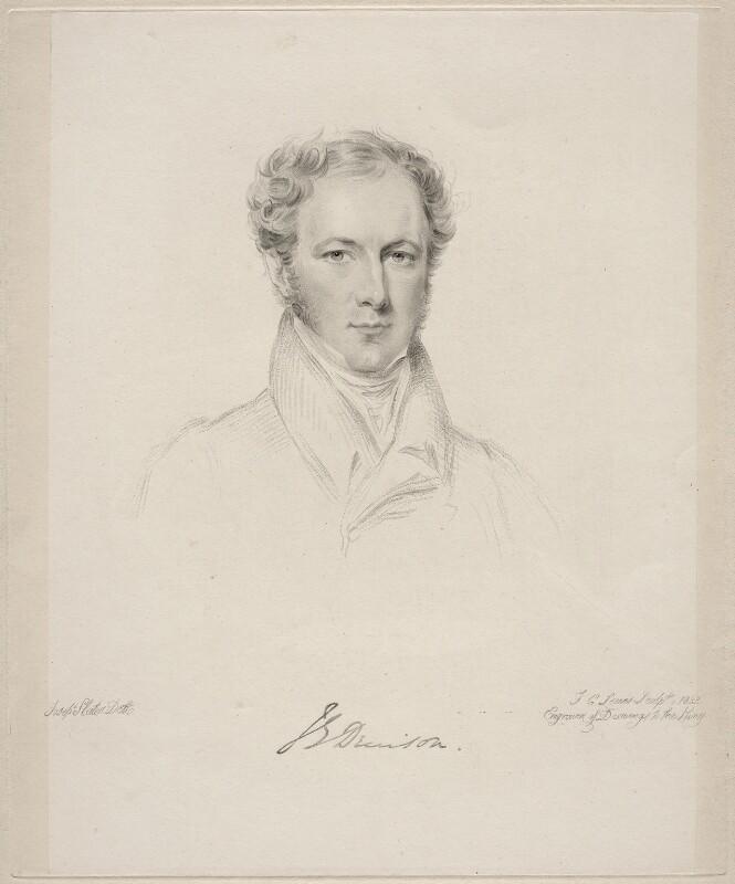 (John) Evelyn Denison, 1st Viscount Ossington, by Frederick Christian Lewis Sr, after  Joseph Slater, 1832 - NPG D20628 - © National Portrait Gallery, London