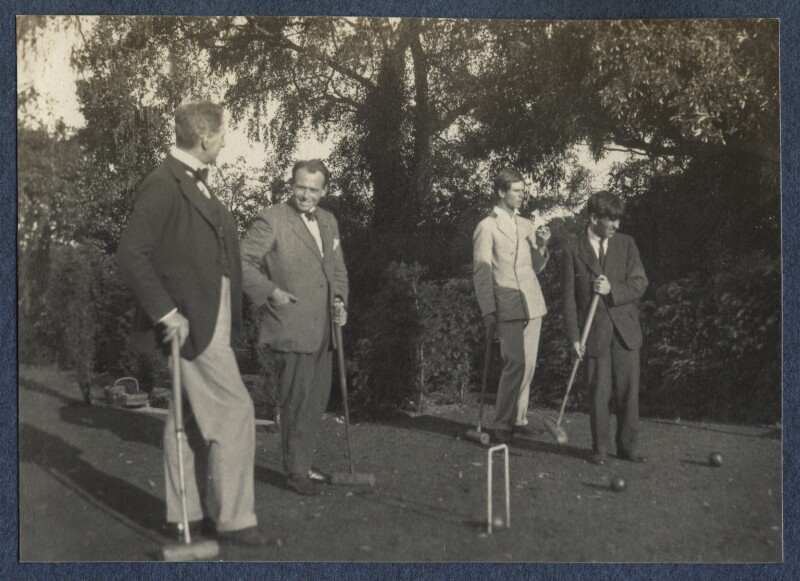 Philip Edward Morrell; James Ching; Sir Stanley Spencer and an unknown man, by Lady Ottoline Morrell, 1924 - NPG Ax141568 - © National Portrait Gallery, London