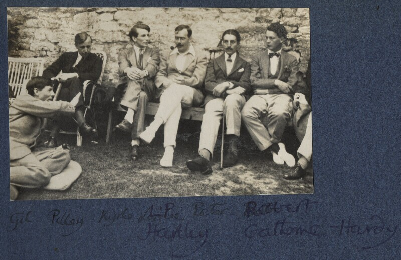 Gilbert Spencer; John Pilley; Kyrle Leng; L.P. Hartley; Peter Ralli; Hon. Robert Gathorne-Hardy, by Lady Ottoline Morrell, 1924 - NPG Ax141585 - © National Portrait Gallery, London