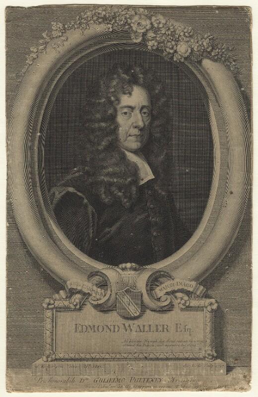 Edmund Waller, by George Vertue, after  Sir Godfrey Kneller, Bt, 1727 (1684) - NPG D20962 - © National Portrait Gallery, London