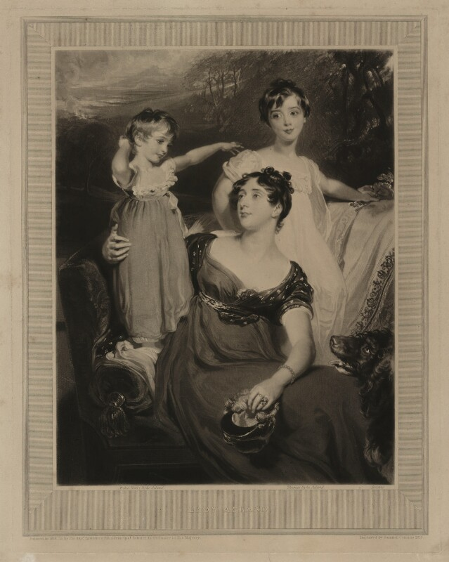 Lady Acland (Arthur Henry Dyke Acland; Lydia Elizabeth (née Hoare), Lady Acland; Sir Thomas Dyke Acland, 11th Bt), by Samuel Cousins, after  Sir Thomas Lawrence, 1826 (1818) - NPG D7157 - © National Portrait Gallery, London