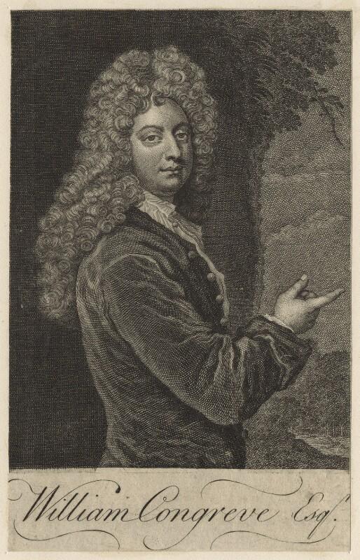 William Congreve, by Michael Vandergucht, after  Sir Godfrey Kneller, Bt, published 1718 (1709) - NPG D20958 - © National Portrait Gallery, London