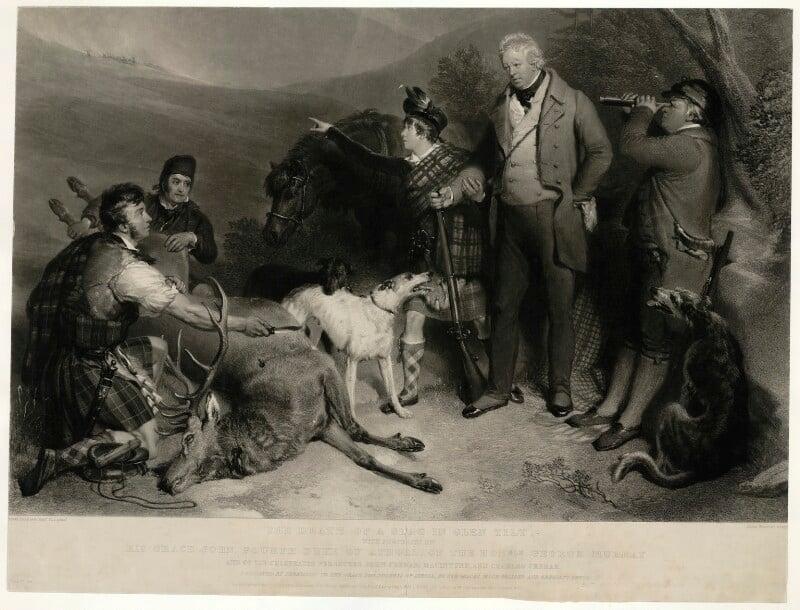 The Death of a Stag in Glen Tilt, by John Charles Bromley, after  Sir Edwin Henry Landseer, published 1833 - NPG D7516 - © National Portrait Gallery, London