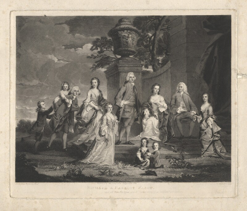'Richard & Harriot Eliot, and all their Children, with Mrs. Goldsworthy & the Hon Captn. J. Hamilton', by Samuel William Reynolds, after  Sir Joshua Reynolds, published 1823 - NPG D1878 - © National Portrait Gallery, London