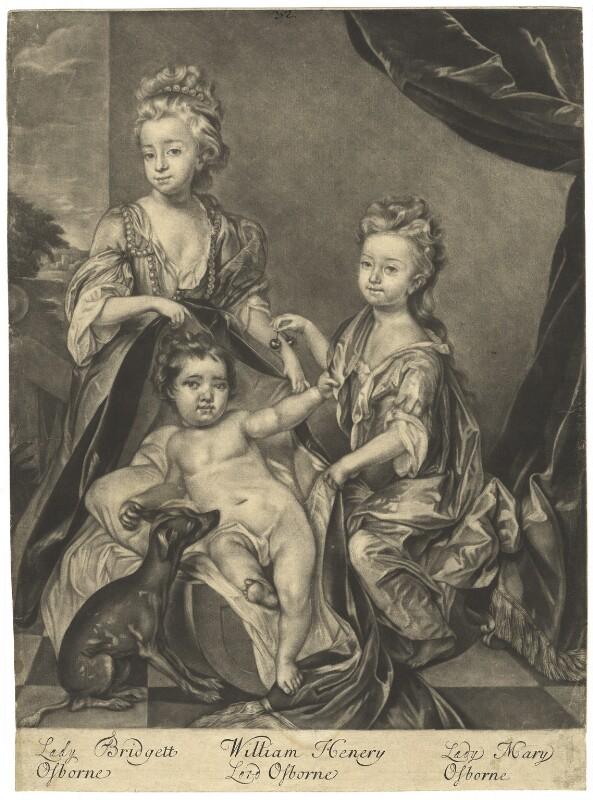 Lady Bridget Williams (née Osborne); Lord William Henry Osborne; Mary Cochrane (née Osborne), Countess of Dundonald, by Robert Williams, after  Thomas Hill, after 1691 - NPG D4084 - © National Portrait Gallery, London