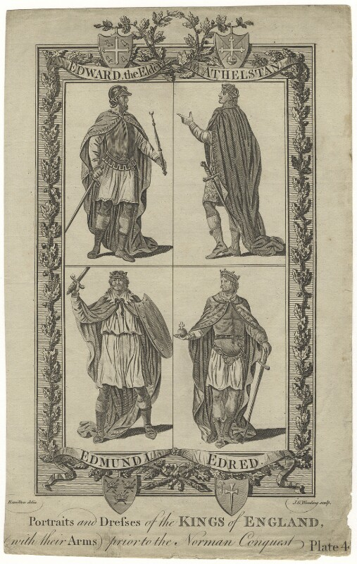 Portraits and Dresses of the Kings of England, (with their Arms), prior to the Norman Conquest Plate 4, by J.G. Wooding, after  Hamilton, circa 1788-1790 - NPG D8867 - © National Portrait Gallery, London