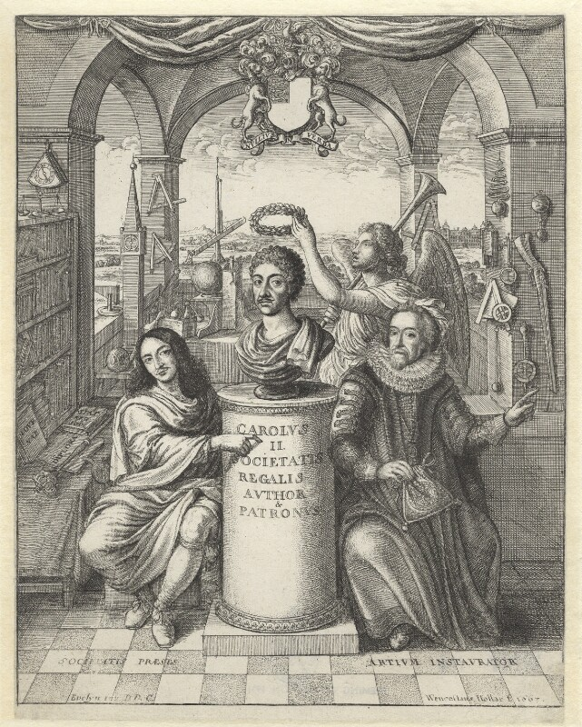 Frontispiece to 'The History of the Royal-Society of London' by Thomas Sprat, by Wenceslaus Hollar, after  John Evelyn, 1667 - NPG D2945 - © National Portrait Gallery, London
