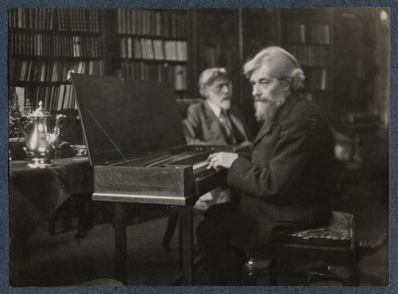 'Robert Bridges and Arnold Dolmetsch on the day of the presentation of the clavichord', by Lady Ottoline Morrell, October 1924 - NPG Ax142021 - © National Portrait Gallery, London