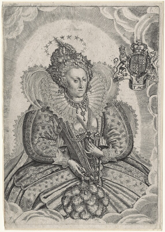 Queen Elizabeth I, by Francis Delaram, after  Nicholas Hilliard, published 1630 - NPG D21053 - © National Portrait Gallery, London