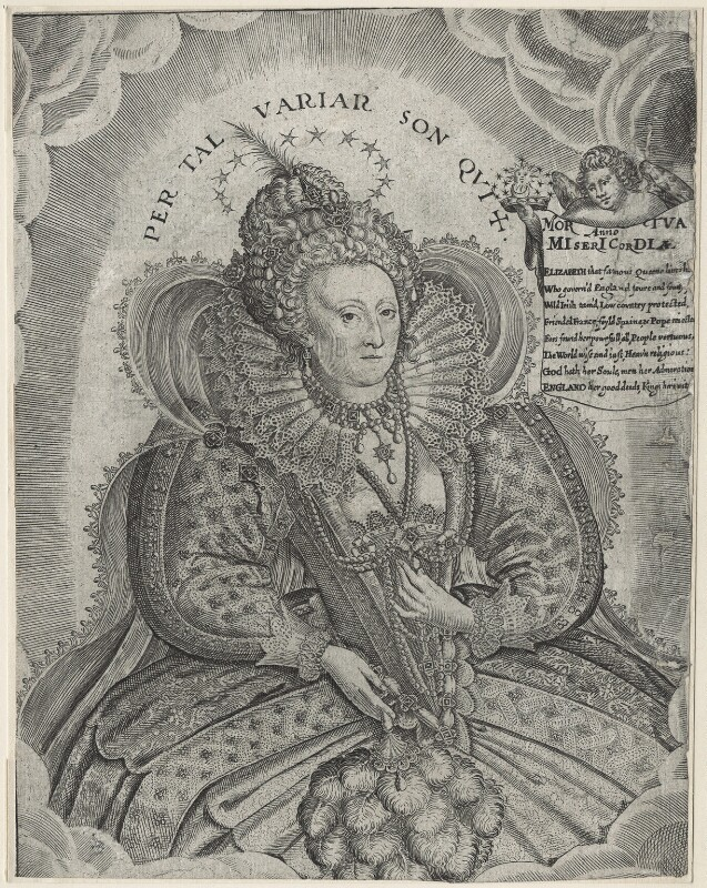 Queen Elizabeth I, by Francis Delaram, after  Nicholas Hilliard, published 1625 - NPG D21054 - © National Portrait Gallery, London