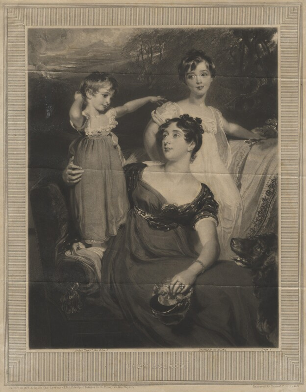 Lady Acland (Arthur Henry Dyke Acland; Lydia Elizabeth (née Hoare), Lady Acland; Sir Thomas Dyke Acland, 11th Bt), by Samuel Cousins, after  Sir Thomas Lawrence, 1826 (1818) - NPG D21102 - © National Portrait Gallery, London