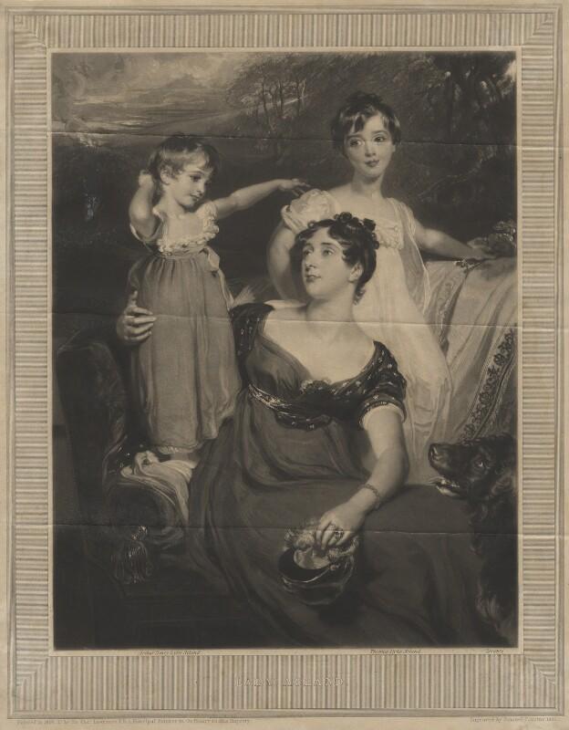 Lady Acland (Arthur Henry Dyke Acland; Lydia Elizabeth (née Hoare), Lady Acland; Sir Thomas Dyke Acland, 11th Bt), by Samuel Cousins, after  Sir Thomas Lawrence, 1826 (1818) - NPG D21102 - © National Portrait Gallery, London