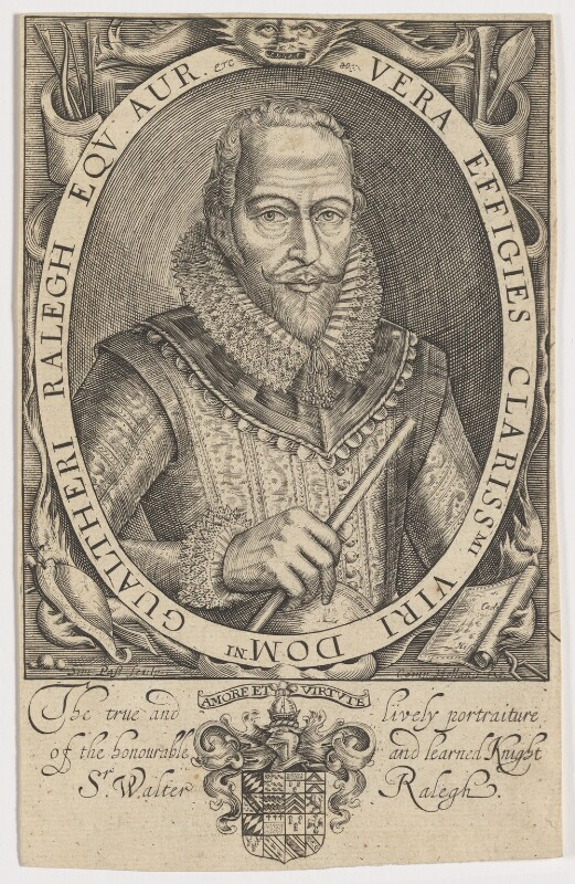 Sir Walter Ralegh (Raleigh), by Simon de Passe, published by  Compton Holland, published 1617 - NPG D21166 - © National Portrait Gallery, London