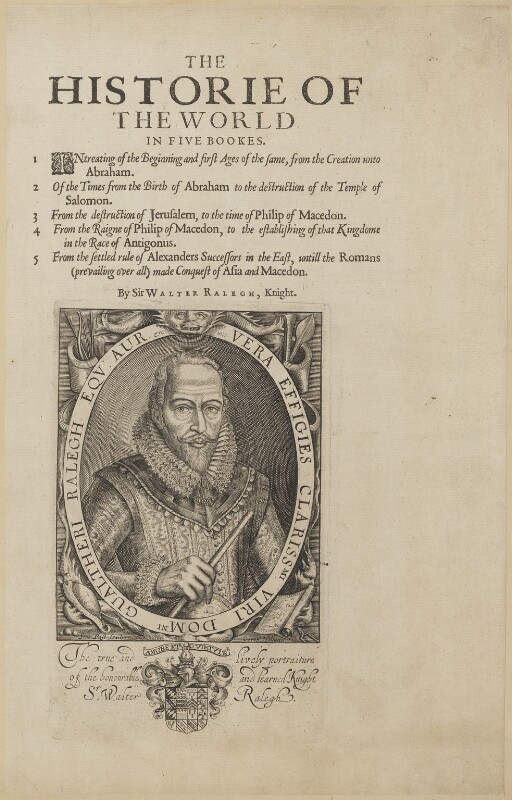 Sir Walter Ralegh (Raleigh), by Simon de Passe, published by  Compton Holland, published 1617 (1614) - NPG D21168 - © National Portrait Gallery, London