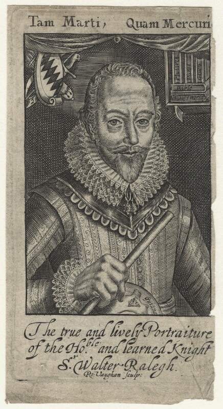 Sir Walter Ralegh (Raleigh), by Robert Vaughan, after  Simon de Passe, published 1650 (1617) - NPG D21170 - © National Portrait Gallery, London