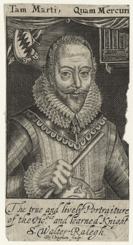 Sir Walter Ralegh (Raleigh), by Robert Vaughan, after  Simon de Passe, published 1650 (1617) - NPG D21171 - © National Portrait Gallery, London