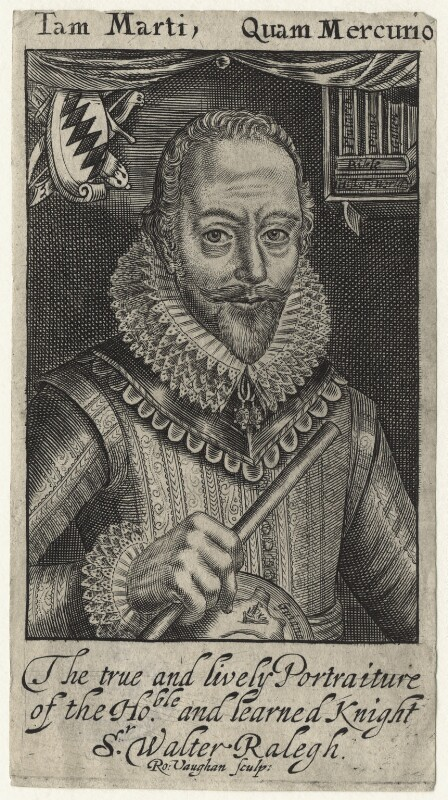 Sir Walter Ralegh (Raleigh) (Raleigh), by Robert Vaughan, after  Simon de Passe, published 1650 (1617) - NPG D21172 - © National Portrait Gallery, London