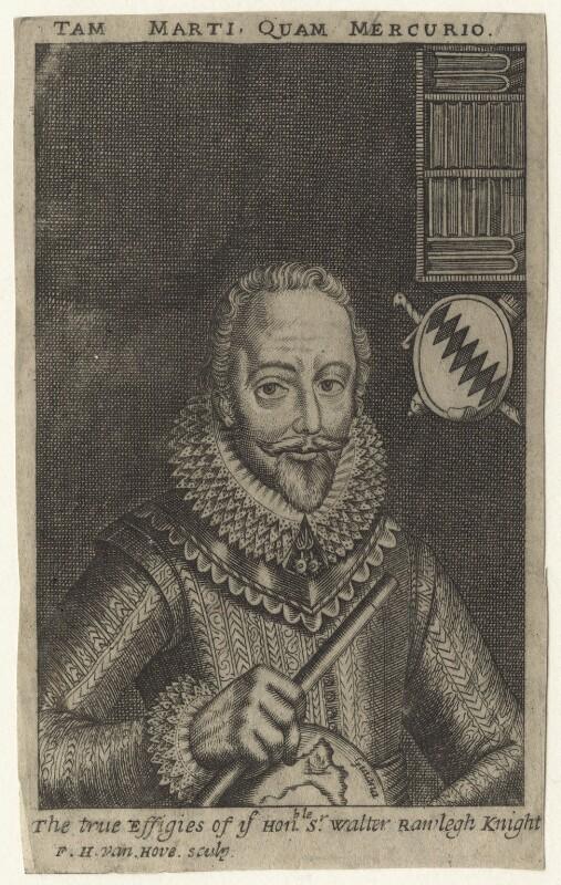 Sir Walter Ralegh (Raleigh), by Frederick Hendrik van Hove, after  Simon de Passe, circa 1650-1690 (1617) - NPG D21175 - © National Portrait Gallery, London